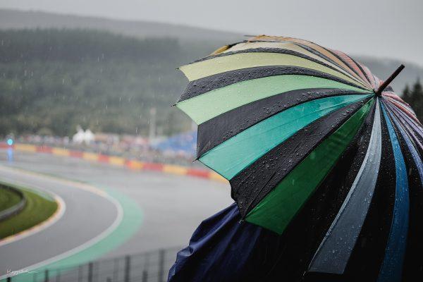 F1 Fan im Regen